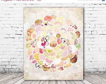 ON SALE 20% OFF Lovelybloom - stretched canvas print, pastel pink mixed media collage art, canvas art, baby girl nursery decor, large wall a