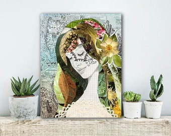 ON SALE 20% OFF Terra - stretched canvas print, mixed media collage art, earthy, nature, mother earth art print, canvas art, large wall art,