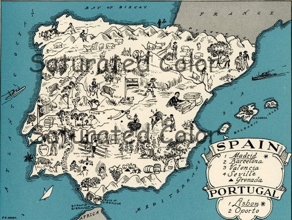 Map Of Spain Geography.Spain Portugal Map Original 1932 Vintage Picture Map Geography Pictorial Fun Charming Antique Paul Spener Johst Whimsical Madrid Barcelona
