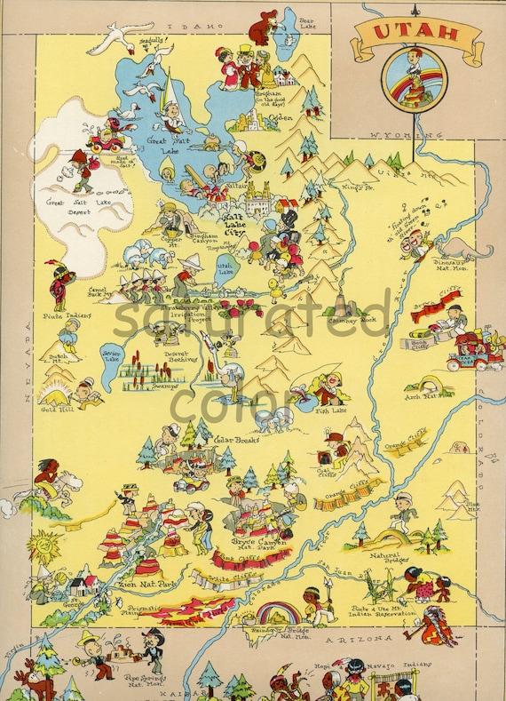 Utah Map ORIGINAL 9 X 13 Vintage 1930s Antique Picture Map | Etsy