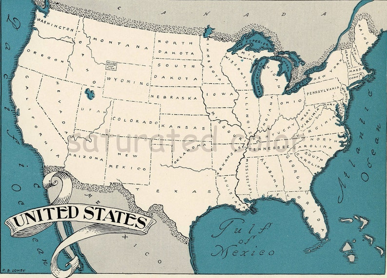 High Res Us Map.United States Map High Res Digital Image Retro U S Etsy