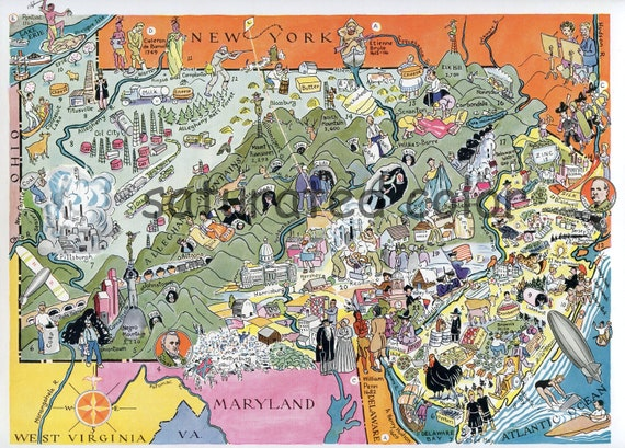 Pennsylvania New Jersey Map Original 1932 Vintage Picture Etsy