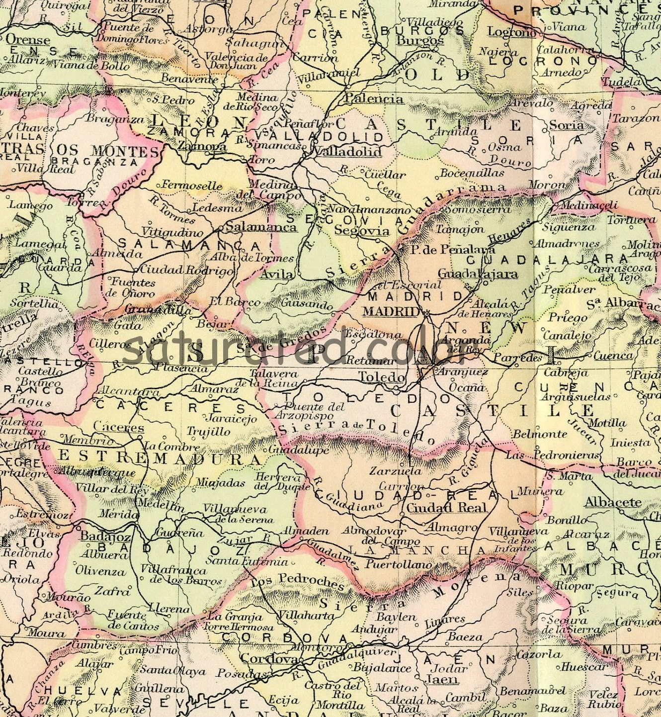 Moron Spain Map.Spain Portugal Map Original 1895antique Vintage Map Spain Etsy
