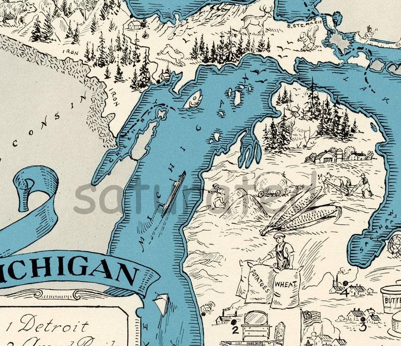 Original 1931 Michigan Map Vintage Picture Map Antique Etsy