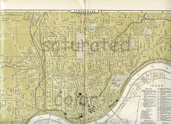 Cincinnati Ohio Mapa Original 1895 Antiguo Ciudad De Etsy
