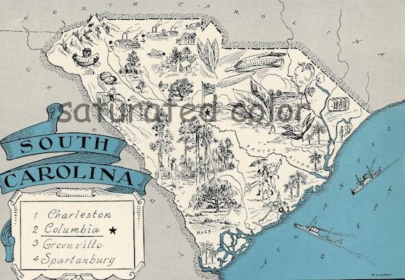 Vintage South Carolina Map.South Carolina Map Vintage Map Art High Res Digital Image Etsy