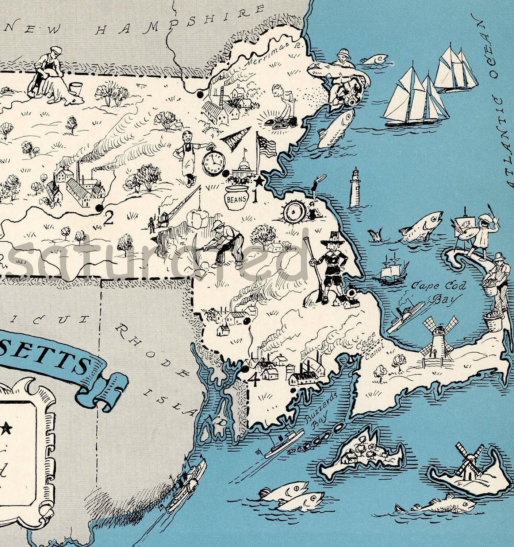 Springfield Usa Map.Original 1931 Massachusetts Map Vintage Picture Map Antique Etsy
