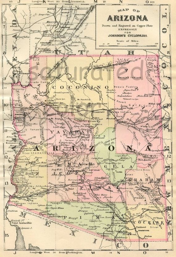 Arizona Map ORIGINAL 1895 Antique Map Vintage Map of | Etsy