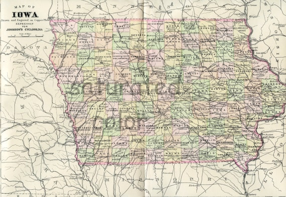 Iowa Map Original Antique Map Of Iowa Vintage Iowa Etsy - Vintage iowa map
