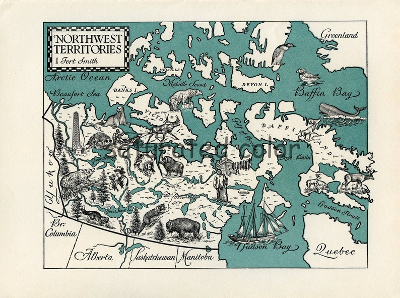 Northwest Territories Original Vintage Map Canada Map A Etsy