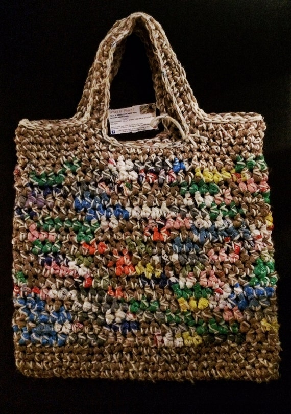 Plarn and Yarn Market Tote Bag made from Recycled Bags
