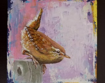Original painting of Wren on a post