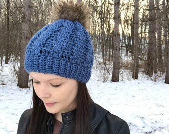 Country Blue With Brown Fur Pom Pom Ready To Ship Crochet Cable Hat, Fits Teens to Women, Blue hat, Fur Pom, Winter Beanie, Photo Prop