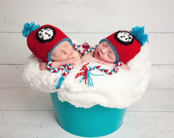 Thing 1 & Thing 2 Crochet Hats, Newborn to 10 years, Photography Prop, Newborn hats, Twins hats, baby shower gift, handmade hat, fall hat