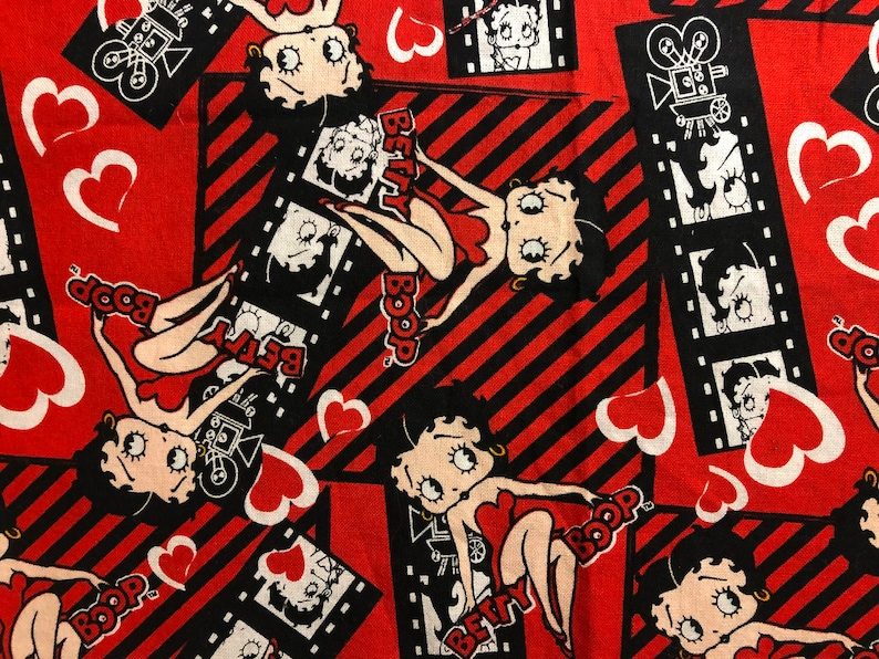 Fabric Betty Boop New York City Flag 4th of July Cars Glamours Dresses  Walking Dog 100% Cotton Black Background Fat Quarter L7
