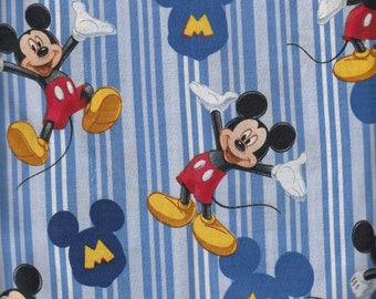 Eustheelf Mickey Mouse Blue Stripe Cotton Fabric Fat Quarter FQ 35