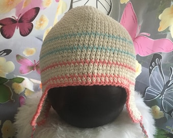 100% Cotton, Crocheted beanie, youth\ adult