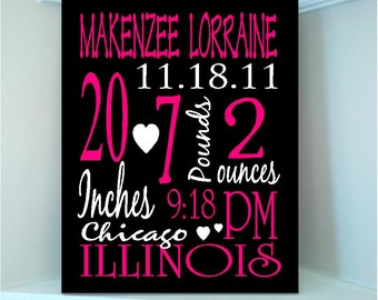Beautiful Personalized Baby GIRL Birth Announcement Subway art  8x10 wooden board sign