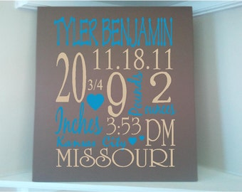 Beautiful Personalized Baby BOY Birth Announcement Subway art  8x10 wooden board sign