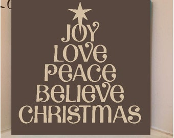 Beautiful 8x8 wooden board sign with vinyl Lettering...Christmas words forming a tree..joy, love, peace, believe, christmas