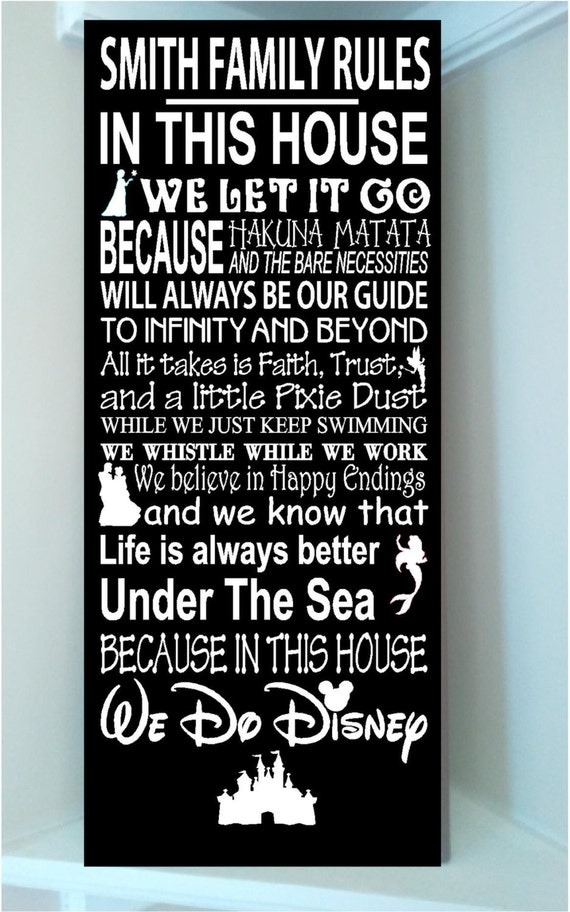 Personalized Family Rules New We Do Disney Movie Quotes Wooden Etsy