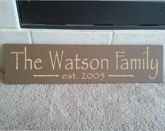 Beautiful 6x24 wooden board sign with Personalized family last name, and est date..