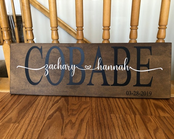 Personalized wooden sign with vinyl Famous couples and your names...subway art
