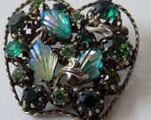 Vintage signed Triad (Canada) art glass and green crystal apple shape brooch
