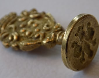 Vintage Italian brass floral wax letter seal, marked ITALY, craft supply