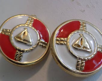 Vintage clip-on earrings, red and white enamel and golden sailboat  nautical seafaring oceanic jewelry