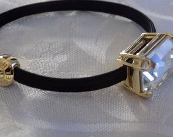 Vintage bracelet, signed Henri Bendel Austrian crystal and gold plate stretchy bracelet,or hair accessory, haute couture
