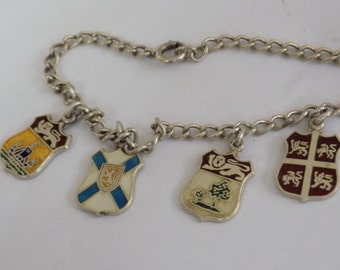 "Vintage bracelet, Atlantic provinces, Canada ""ECCO"" sterling silver coat-of-arms charm bracelet, collectible jewelry"