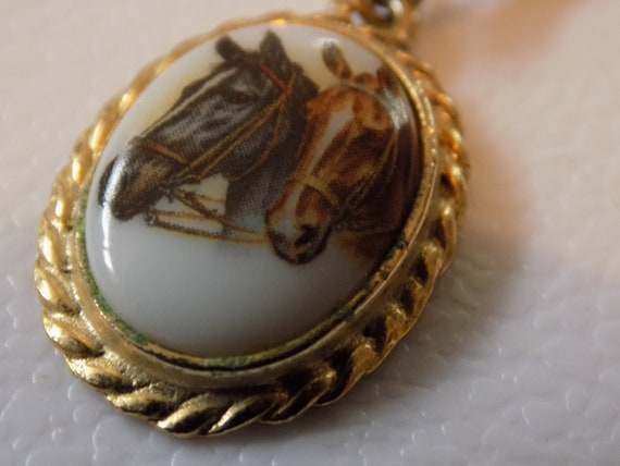 Vintage two horse prints on porcelain pendant and