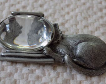 """Vintage brooch, signed """"JJ"""" Cat and fish bowl brooch, figural pewter brooch, vintage jewelry, Jonette jewelry"""