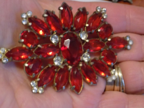 Antique red crystal brooch, 1940's brooch,large st