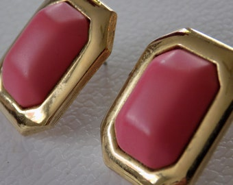 Vintage earrings, signed Ginnie Johansen pink and gold stud earrings, retro jewelry