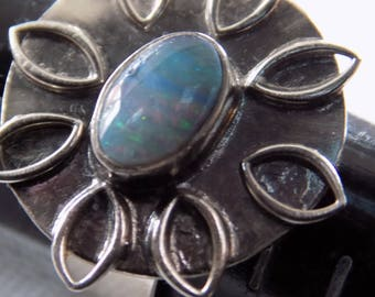 Vintage ring, size 5 ring, hand made silver and iridescent opal ring, unique ring, vintage jewelry
