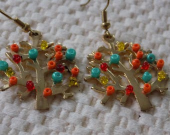 Vintage earrings, multicolor beaded trees of life dangle earrings
