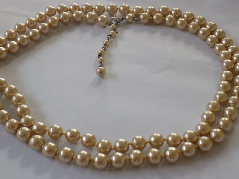 5272315ce32d6 Vintage necklace, individually knotted champagne faux pearl necklace, 36  inch strand pearls, elegant necklace, vintage jewelry