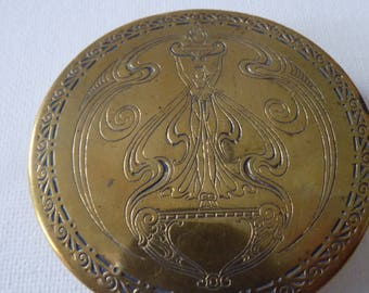 Antique collectible 1920's Art Nouveau Revival Pompeian Co. Cleveland Ohio powder compact