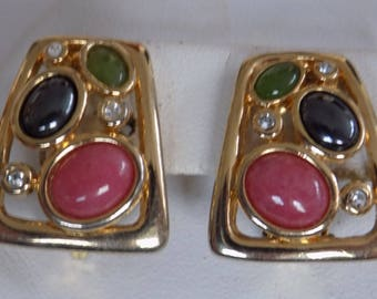 Vintage earrings, green and pink cabochon and crystal clip-on earrings, retro earrings, vintage jewelry