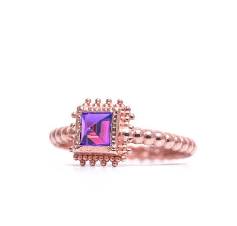 Square Ultra Violet gemstone 9k Rose Gold Granulated Jewelry Gift For Her Birthstone February Amethyst Ring Solitaire Ring 9k Rose Gold