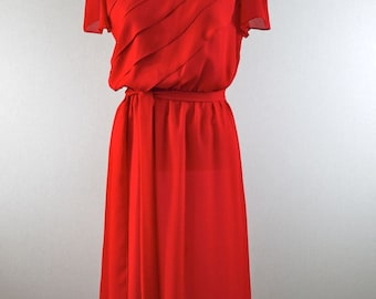 Siren Red Sheer Ruffle Dress