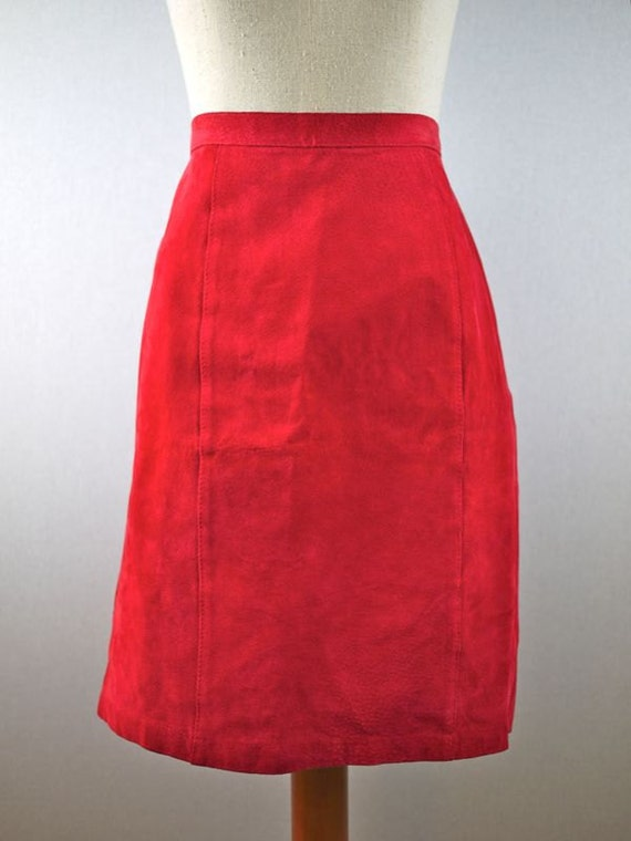 Red Leather Suede Pencil Skirt