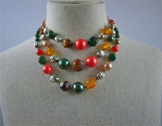50s 60s Bright Beaded Mutli-Strand Tiered Necklace