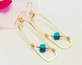 Gold Rectangle Earrings, Hand Hammered, Turquoise Dangle, Mother's Day Sale, Gift for Her, Under 25, Wire Wraped, Minimalist Jewelry