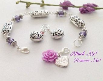 Light Purple Bracelet, Silver, Wire Wrap, Rose Charm, Silver Heart Earrings, Lilac, Gift for Her, spring Sale, Flowers for Her
