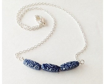 Ceramic Beaded Bar Necklace, Dark Navy Blue, White Beads, Silver-plated Chain, Blue Jewelry, Easter Necklace, on Sale, Gift for Her Under 25