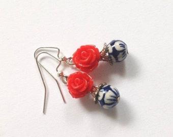 Pink Rose Gold Earrings, Ceramic Flower Earring, Blue, White, Gold Ear Wires, Feminine Flower Earrings, Sale, Gift  for Her, Gift Box