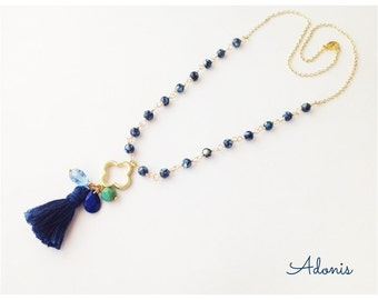 Blue Tassel Necklace, Gold Clover Pendant, Wire Wrap Beaded Chain, Shell Beads, Spring Sale, Gift for Her Under 25, Easter Necklace